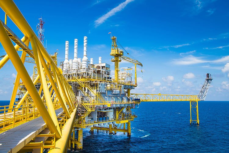 Oil and Gas processing platform producing gas condensate and wat